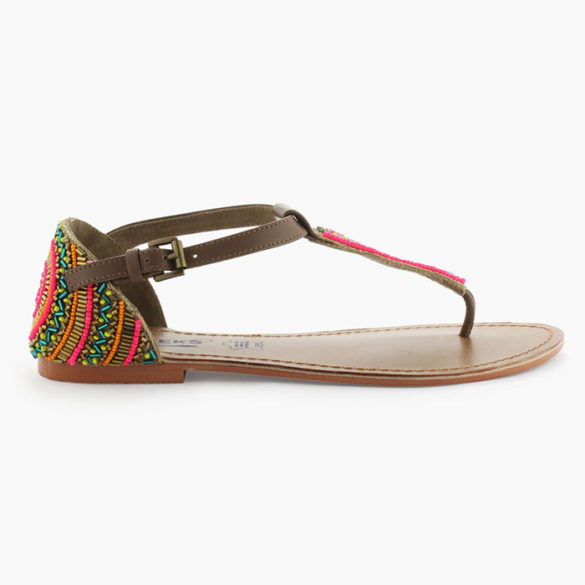 Sandales cuir perles multicolores CREEKS
