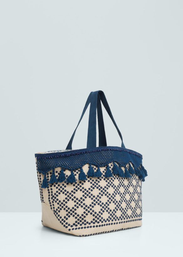 Sac shopper brodé, Mango