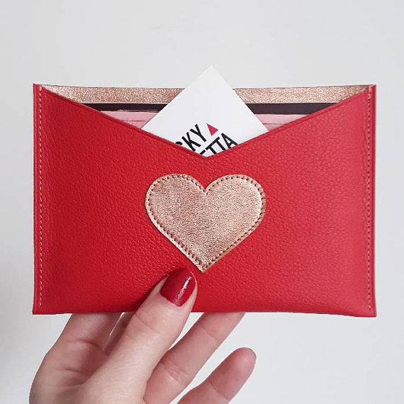 Pochette en cuir rouge/or rose LUCKY ROSETTA 1