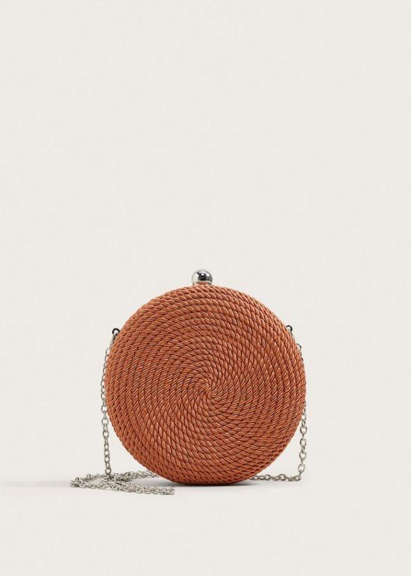 Petit sac rond tressée avec chaîne en métal, Mano