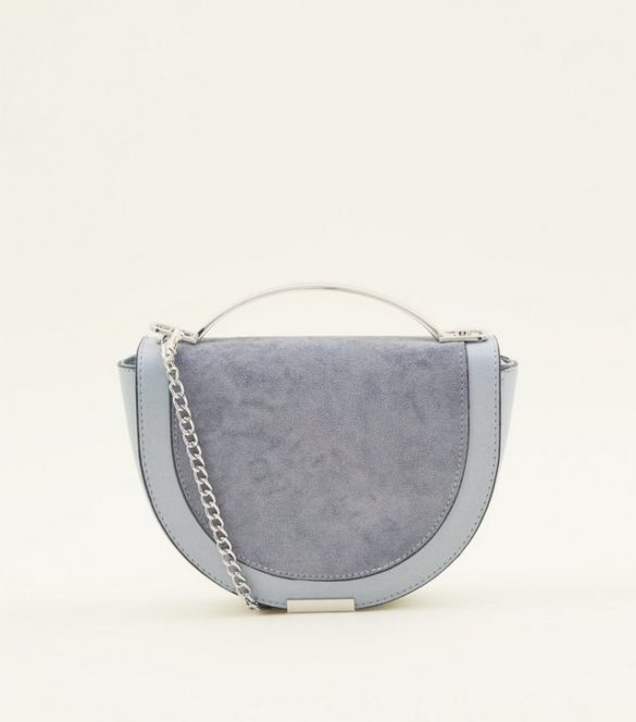 Petit sac à bandoulière bleu clair arrondi à poignée en métal, New Look