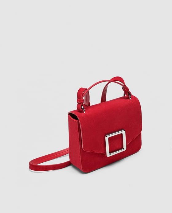Petit sac bandoulière en cuir avec fermeture carrée, Zara