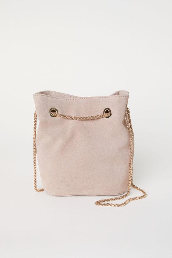 Petit sac seau en suède avec chaîne en métal, H&M