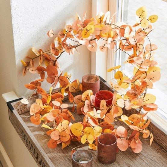 Décoration d'automne - Guirlande de feuilles artificielle