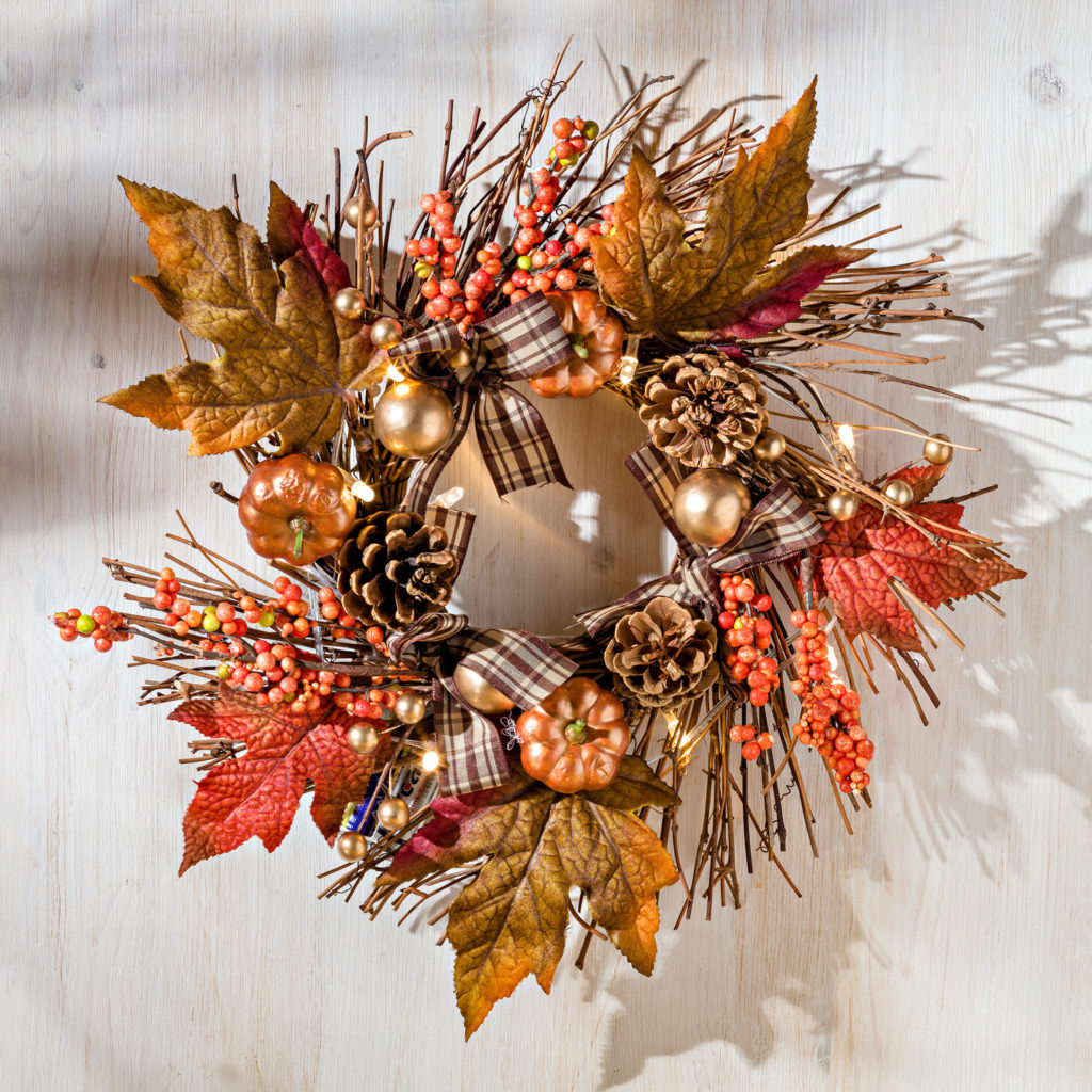 Décoration d'automne - Couronne lumineuse