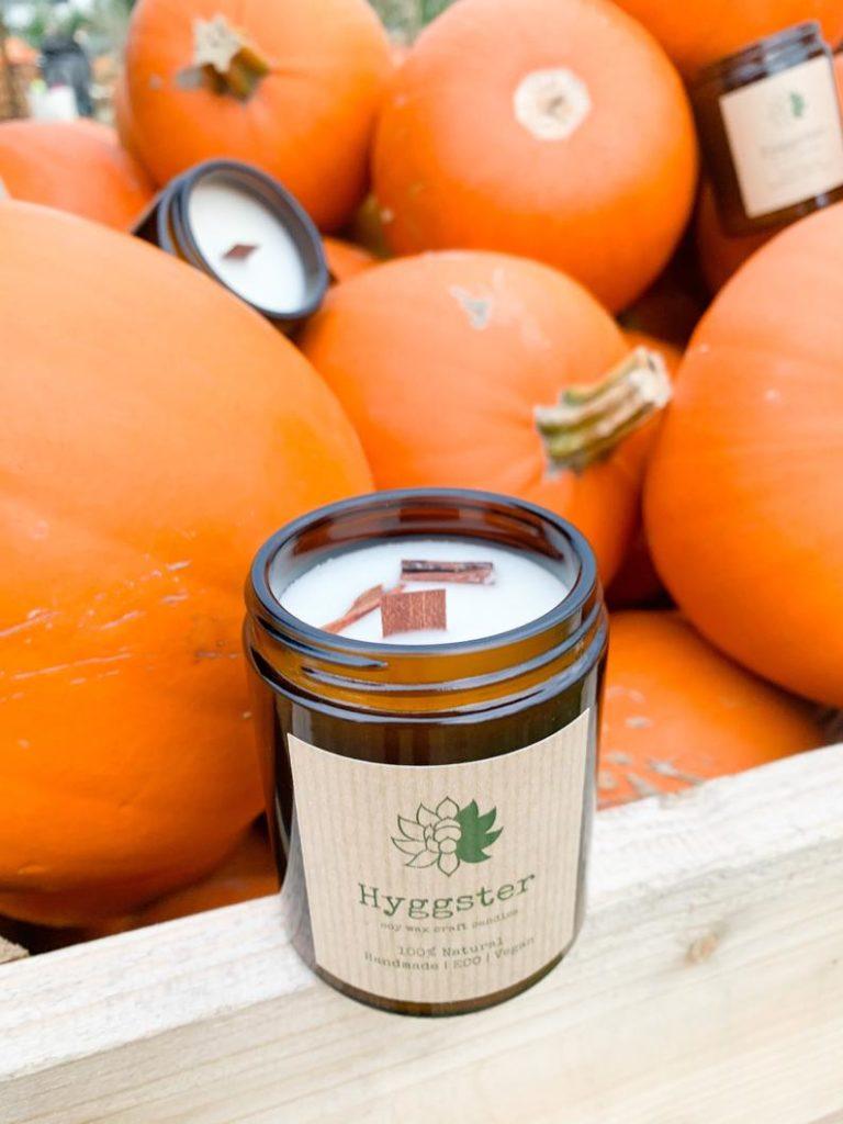 Décoration d'automne - Bougie naturelle vanille et cannelle